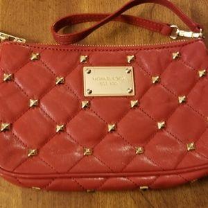 Michael Kors red clutch purse wristlet